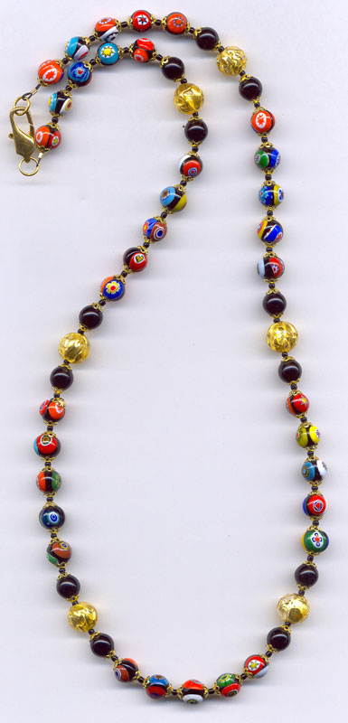 Millefiori venetian beads authentic murano glass italian jewelry round 8mm millefiori venetian bead necklace accented with 10mm paint drip beads in 24kt gold foil and solid black glass beads aloadofball Choice Image